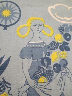 Vintage Swedish Fabric Swedish Print Jobs Handtryck by BettyAndDot, $110.50
