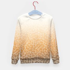 """""""Ombre orange and white swirls doodles"""" Kid's Sweater by @savousepate on Live Heroes #sweatshirt #kidsclothing #kidsapparel #drawing #pattern #abstract #white #orange #tangerine #apricot #bronze #copper #ocher #brown #ombre #gradient #autumncolors #fallcolors"""