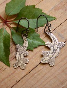 Boucles d'oreilles Gecko, bijou lézards Maori en argent