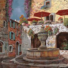 Il Giardino Rosso Guido Borelli Europe Italy Flower Floral Canvas 14x11