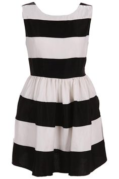 Stripe Black-White Dress. Description Black-White Dress, featuring scoop neck, sleeveless styling, high waist, black white stripe throughout, lining, zippered back, flouncing hem. Fabric Dacron. Washing Hand wash, separation and light color clothes. #Romwe