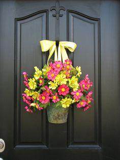 Wreaths Summer Wreaths Galvanized Bucket Outdoor by twoinspireyou