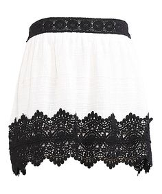 Look what I found on #zulily! White & Black Lace-Detail Skirt - Girls by Flying Tomato #zulilyfinds