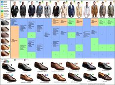 visual guide for dress shoes and dress