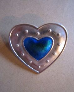 CHARLES-HORNER-silver-and-enamel-heart-shaped-brooch-with-full-hallmarks-Rare