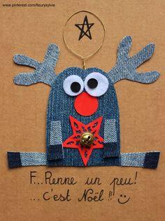 F..renne un peu ! Ralentis! C'est Noël ;-) Recyclage des pantalons  #jeans #recycle https://pinterest.com/fleurysylvie/mes-creas-la-collec/ et www.toutpetitrien.ch