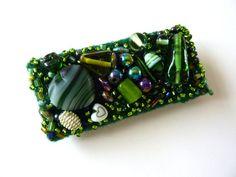 A green beaded brooch a mixed media handmade fibre by shelikesthis