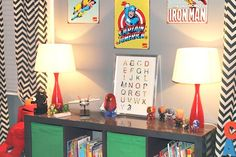 Modern superhero room, I am so steeling this idea for my boys room......and maybe my own room.