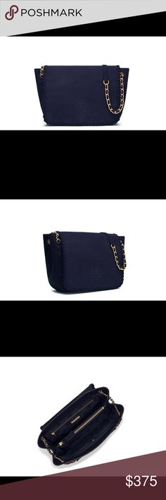 """NWT Tory Burch Marion suede small flap Takes a week to ship Navy Marion small flap suede Height: 7.97"""" (20 cm) Length: 9.56"""" (24 cm) Depth: 3.39"""" (8.5 cm) Tory Burch Bags Shoulder Bags"""