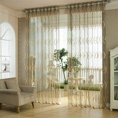 Hight Quality Crescent Pattern Bedroom Living Room Clarity Window Curtain Finished Products Grid  Voile Curtain #Affiliate