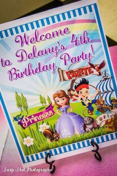 Invitations for a Sofia the 1st and Jake and the Neverland Pirates birthday party! See more party planning ideas at CatchMyParty.com!