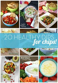 20 Healthy Chip Dip Recipes - You'll be the favorite guest at any party with this collection of healthy, clean eating, real food dips! | Feel Great in 8 - Healthy Real Food Recipes