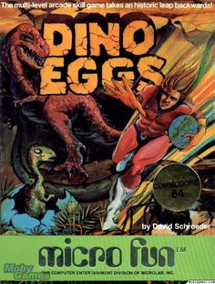 "Box art for ""Dino Eggs,"" a 1983 action game about time-traveling and egg-hatching released by Micro Fun for the Apple II and other personal computers."