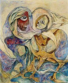 Daphne Odjig - Mother Earth Struggles for Survival Daphne Odjig, Woodlands School, Blind Contour Drawing, Native American Artists, Canadian Art, Indigenous Art, Naive Art, Aboriginal Art, Art Music
