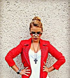bright red jacket