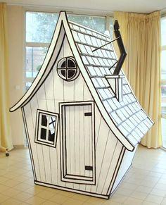 How to make a cardboard hut - tutorial and several models Cardboard Box Crafts, Cardboard Design, Cardboard Playhouse, Cardboard Furniture, Diy Furniture, Cardboard Box Houses, Cardboard Castle, Cardboard Toys, Furniture Design