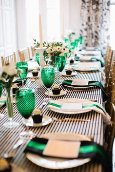 Black & white stripes paired with emerald green