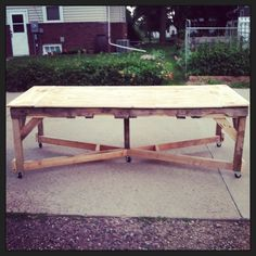 I decided to create a grand Harvest Table based from two 40x48 put together into a huge 40x96 Harvest Table. Dunnage was used for the legs and other shipping crate materials for the top. The end result was SUPER cool!!!  More information at Whimsical Willy / CDBG Designs website ! Idea sent... #Pallet, #Recycled, #Table