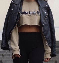 fashion, outfit, and style image Leather Jacket, Timberland Cropped Sweatshirt, and Black Leggings