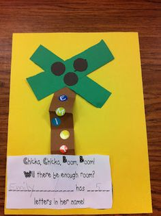 Chicka chicka boom counting letters in our names Welcome to Room the first two weeks of school Preschool Names, Preschool Projects, Back To School Activities, Alphabet Activities, Kindergarten Activities, Classroom Activities, Book Activities, Classroom Projects, Preschool Ideas