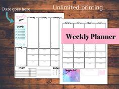 Weekly Planner, Printable Weekly Planner Insert, A4 , Full Sheet, PDF Download, Weekly Planner