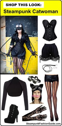 How to recreate this Steampunk Catwoman cosplay! What to buy, where to buy it! Includes plus size clothing options. Shop this look: DC Comics Villains/comic book cosplay. - For costume tutorials, clothing guide, fashion inspiration photo gallery, calendar of Steampunk events, & more, visit SteampunkFashionGuide.com