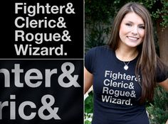 Fighter & Cleric & Rogue & Wizard - gamer shirt at TShirt Laundry