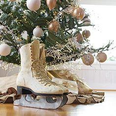 resin sculpted Ice Skates ~ Grandinroad