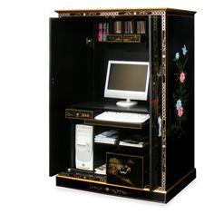 Bon Black Lacquer Courtyard Design Computer Armoire