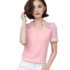 b5a32ef2de8 ... Chiffon Blouse Loose Shirts Casual Office Work Wear Tops 2016 Lace Shirt  Fashion Puff Sleeve Blousa Plus Size-in Blouses   Shirts from Women s  Clothing ...