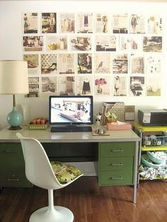 Love the vintage desk, lamp & chair.  Love the colors too.  And the wall.