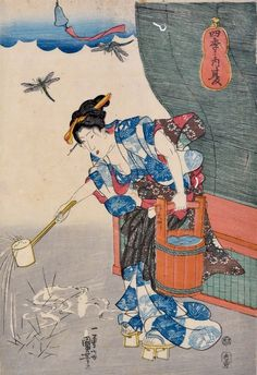 Utagawa Kuniyoshi (1797-1861) The Four Seasons (Shiki no uchi): Summer (Natsu), 1843. Oban. The picture is rich with incident and detail alluding to the summer months - the hovering dragonflies, and the loose fitting and revealing clothes of the young woman who is bent forward carrying a heavy bucket of water in her left hand and ladling water onto plants with her right hand.