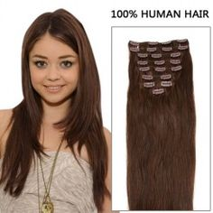24 Inch 7pcs Ravishing Straight Clip In Human Hair Extensions 80g (#4 Chocolate Brown)