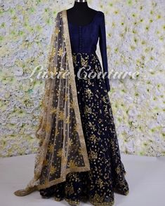 """This top - Raman & Gurp (@luxiecouture) on Instagram: """"Navy blue net sequins and thread anarkali paired with gold net sequins dupatta This piece can be…"""""""