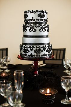 silver and black cake