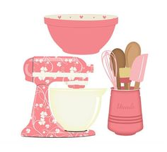 Kitchen Baking clipart set mixer, utensils and bowl digital PNG clip art (pink… Scrapbook Recipe Book, Ma Baker, Kitchen Clipart, Homemade Cookbook, Cake Logo, Kitchen Art, Kitchen Mixer, Vintage Labels, Meal Planner
