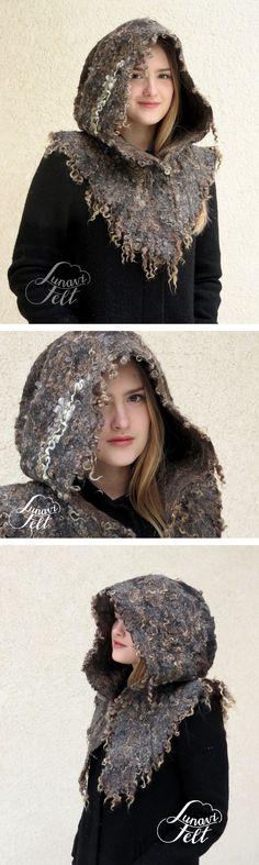 A new take on medieval hood - creating fur like texture by wet felting with raw sheep locks. Modern viking hood, Elf, festival or Druid wear Perfect protection from elements. Felt Hat, Wool Felt, Elf Cosplay, Crochet Shawl, Crochet Stitch, Felting Tutorials, Nuno Felting, Cloak, Lana
