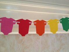 Baby Shower Decor Rainbow Baby Onesie Garland by PaperStrip, $6.00