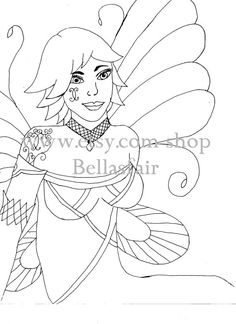 Hand Drawn Woman Fairy Mythical coloring page by Bellasfair
