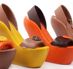Fashionable Chocolate Wedges: Wear it and eat it.on second thought, better just eat it! Chocolate Shapes, Love Chocolate, Great Mothers Day Gifts, Mother Day Gifts, Just Eat It, Cake Designs, Something To Do, Nirvana, My Style
