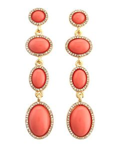 Linear Pave Earrings, Coral by Fragments at Last Call by Neiman Marcus.