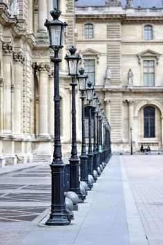 Row of Street Lights ~ at the Louve Museum in Paris,France
