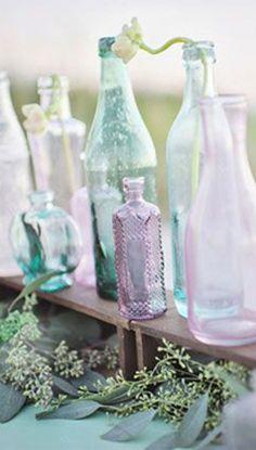 Sea Glass Coloured Bottles