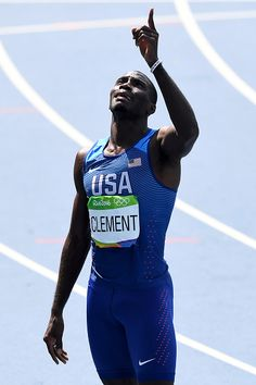 Kerron Clement of the United States reacts after placing first in the Men's…