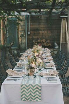 Una fiesta chevron - All Lovely Party Reception Table, Wedding Reception Decorations, Wedding Themes, Wedding Table, Rustic Wedding, Table Decorations, Centerpieces, Big Sur Wedding, Our Wedding