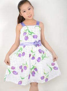 New Girls Dress Pink Rose Flower Dot Princess Child Clothes Size 5-12 #SunnyFashion #Everyday