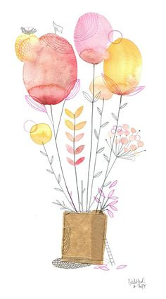 zoetheid - de chosettes - Apocalypse Now And Then Abstract Watercolor, Watercolor And Ink, Watercolour Painting, Watercolor Flowers, Painting & Drawing, Art Et Illustration, Floral Illustrations, Art Fantaisiste, Whimsical Art