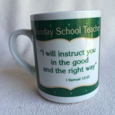 Sunday School Teacher Gift Coffee Mug Tea Cup Christian Church Scripture Prayer