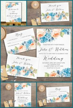 Floral Wedding Invitation Printable, Peach and Blue Wedding Inspiration, Coral & Blue Wedding Invitations, Bohemian wedding Stationery. Boho Wedding Ideas. Peony & Hydrangea Invitation Suite. For more wedding invitations check the following link: tranquillina.etsy.com