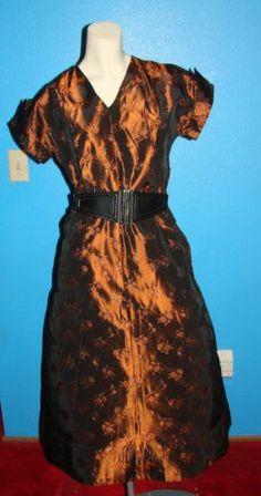Vintage 50s Copper iridescent Cocktail Dress S 34 Bust